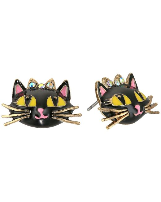 Betsey Johnson - Black Enchanted Forest Cat Stud Earrings - Lyst