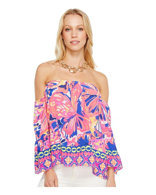 Lilly Pulitzer - Sanilla Silk Top (pink Fusion Bombshell Engineered) Women's Clothing - Lyst