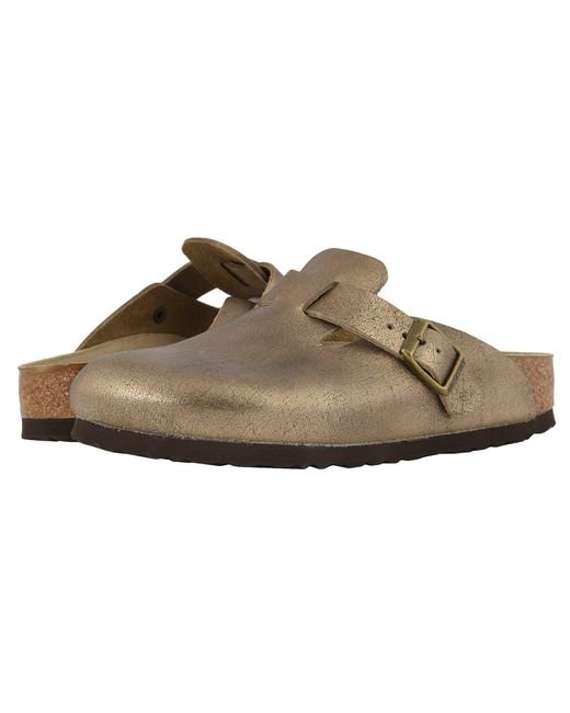 3d739034441e Birkenstock - Boston (washed Metallic Antique Gold Leather) Women s Clog  Shoes - Lyst ...