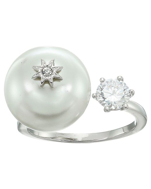 Betsey Johnson - Multicolor Blue By Betsey Open Ring With Cubic Zirconia Stone And Pearl And Star Detail - Lyst