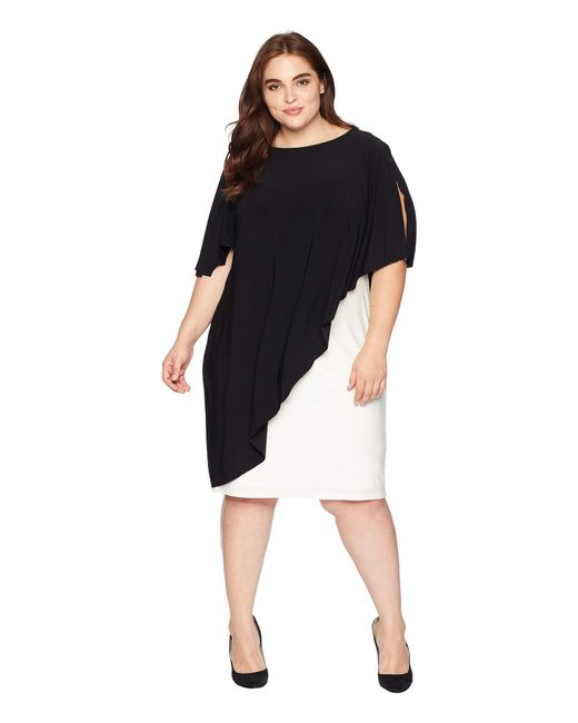 Lauren by Ralph Lauren - Plus Size Matte Jersey Naila Short Sleeve Day Dress (black/colonial Cream) Women's Dress - Lyst