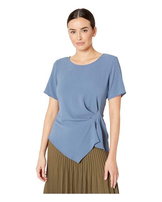 Vince Camuto Blue Short Sleeve Side Gather Asymmetrical Hem Blouse