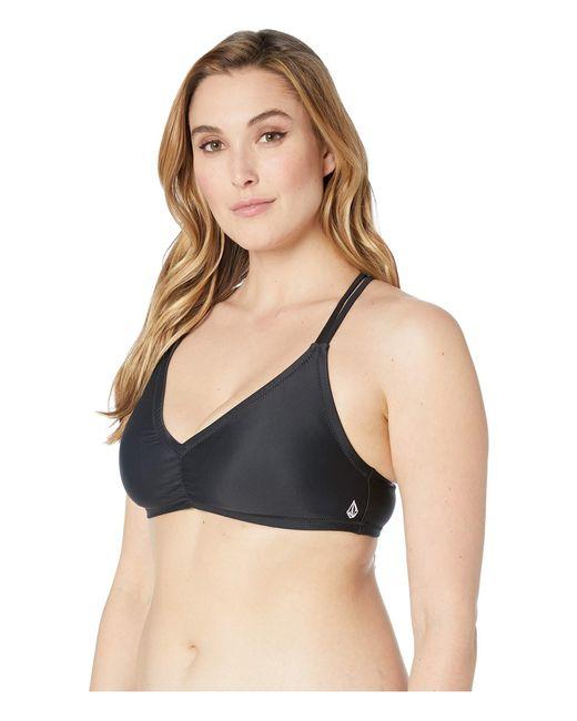 7e7f12333a4 Lyst - Volcom Plus Size Simply Solid V-neck (black) Women s Swimwear ...