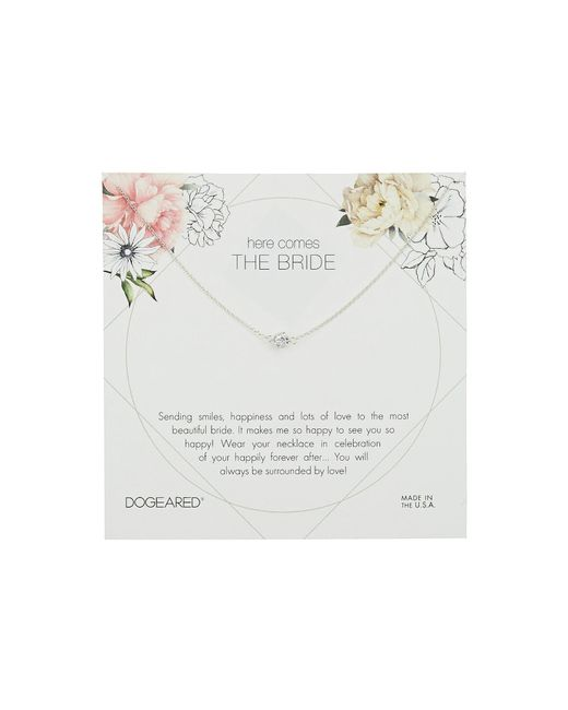 Dogeared - Metallic Here Comes The Bride Flower Card Pave Sparkle Ball Necklace - Lyst