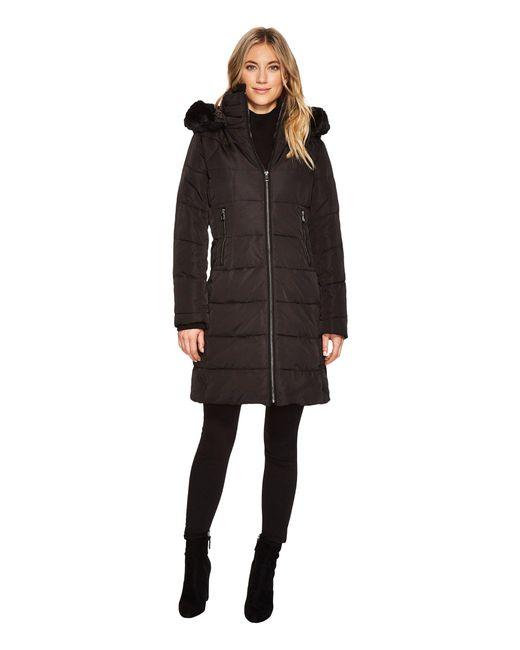 Vince Camuto - Black Faux Fur Trim Asymmetric Front Coat - Lyst