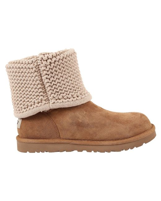 ... Ugg - Multicolor ® Shaina Knit Top Leather Strap Boots - Lyst ...
