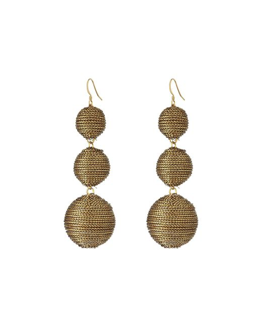 Kenneth Jay Lane | Metallic 3 Gold Thread Small To Large Wrapped Ball Post Fish Hook Ear Earrings | Lyst