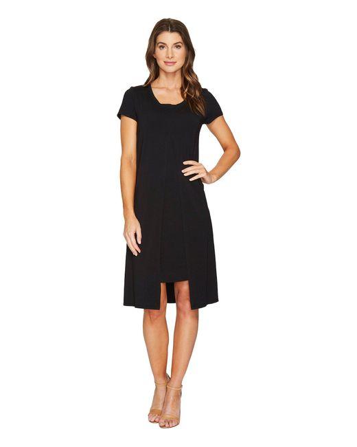 Mod-o-doc   Black Cotton Modal Spandex Jersey Short Sleeve Flyaway Layered T-shirt Dress   Lyst