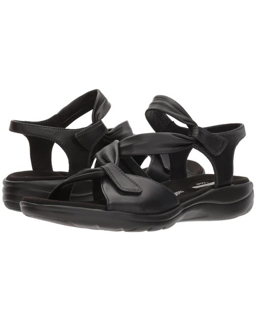 Clarks - Black Saylie Moon (pewter Metallic Leather) Women's Sandals - Lyst