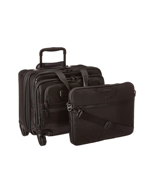 Tumi - Black Alpha 2 - 4 Wheeled Deluxe Leather Brief With Laptop Case - Lyst