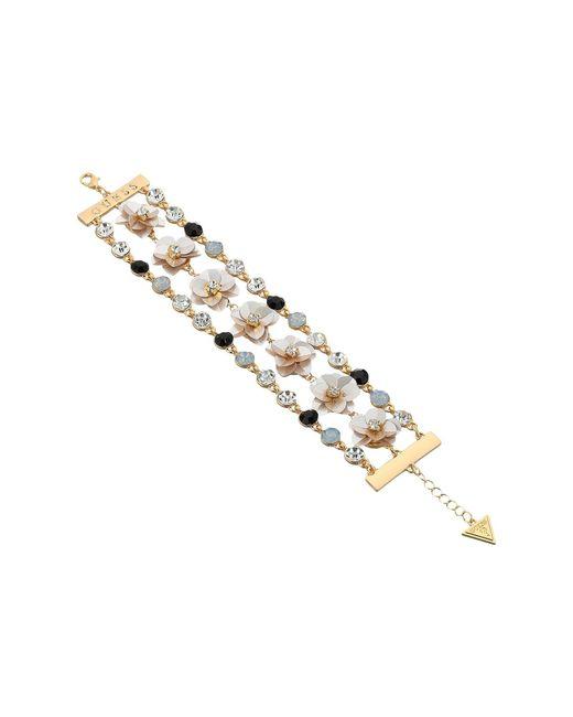 Guess - Metallic Floral Motif Line Bracelet - Lyst