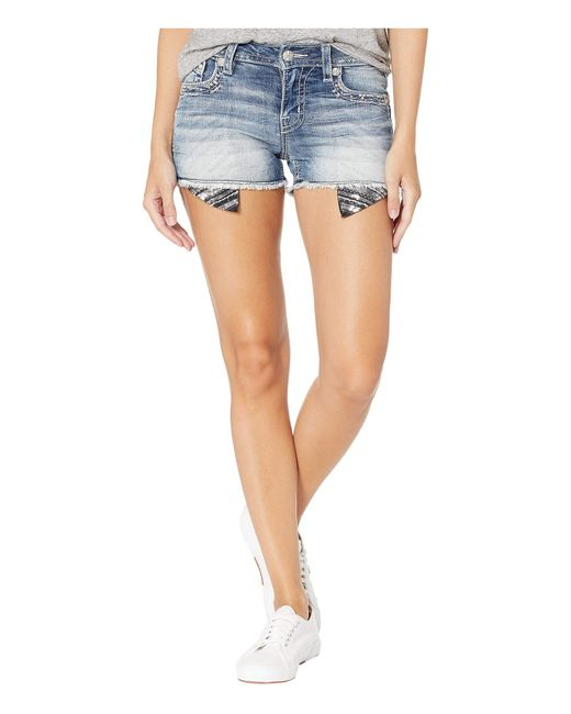 Miss Me Blue Sequins Embellished Mid-rise Shorts