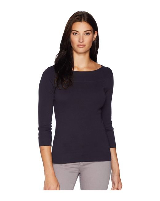 Lilla P - Blue 3/4 Sleeve Boat Neck (black) Women's Clothing - Lyst