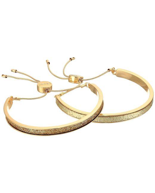 Guess - Metallic Two-piece Glittler Slider Bangle Set (gold/gold Glitter) Bracelet - Lyst