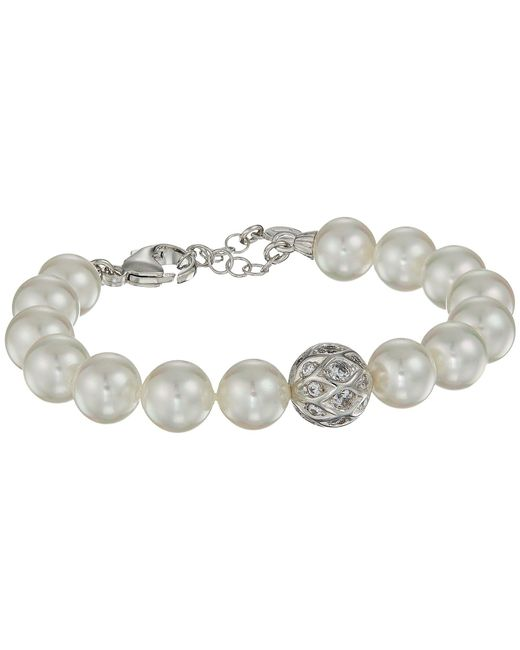 Majorica - 10mm Round Pearls And Cz Silver Bracelet 7.5-8.5 (white) Bracelet - Lyst
