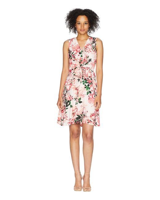 CALVIN KLEIN 205W39NYC - Multicolor V-neck Floral Dress With Tie Front Cd8e31mb - Lyst
