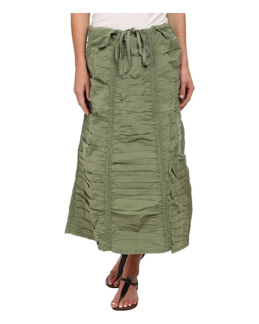 XCVI | Green Stretch Poplin Double Shirred Panel Skirt | Lyst
