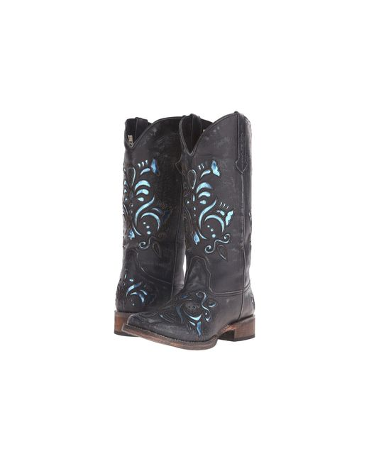 Roper - Laser Cut Metallic Underlay Boot (black/blue) Cowboy Boots - Lyst
