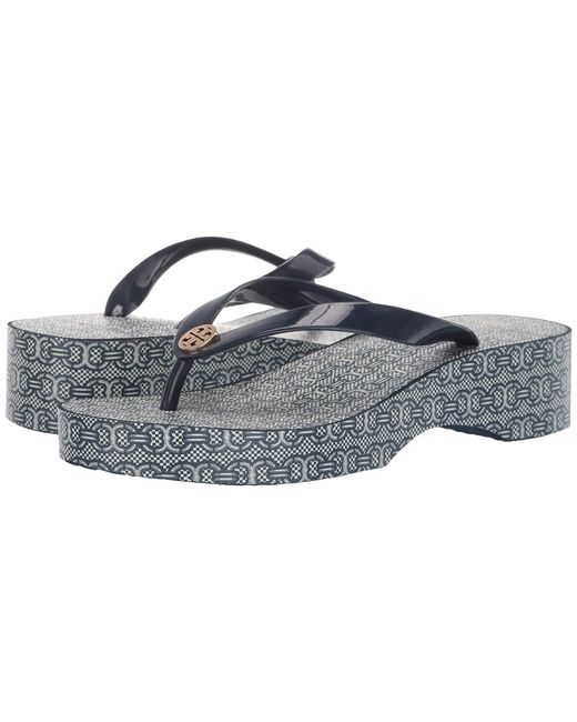 7883a8f979b Tory Burch - Blue Cut Out Wedge Flip-flop (tory Navy/navy Gemini ...