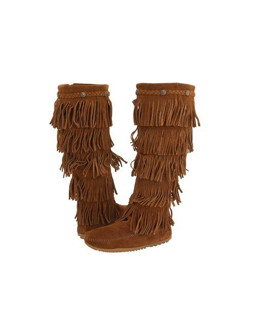 Minnetonka | Brown '5 Layer Fringe' Boot | Lyst