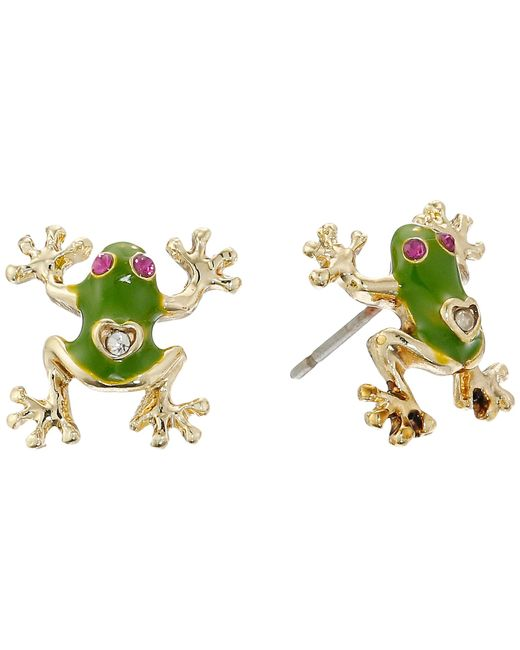 Betsey Johnson | Green Jungle Book Frog Stud Earrings | Lyst