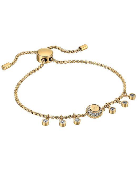 Michael Kors - Metallic Logo Tone And Crystal Slider Bracelet - Lyst