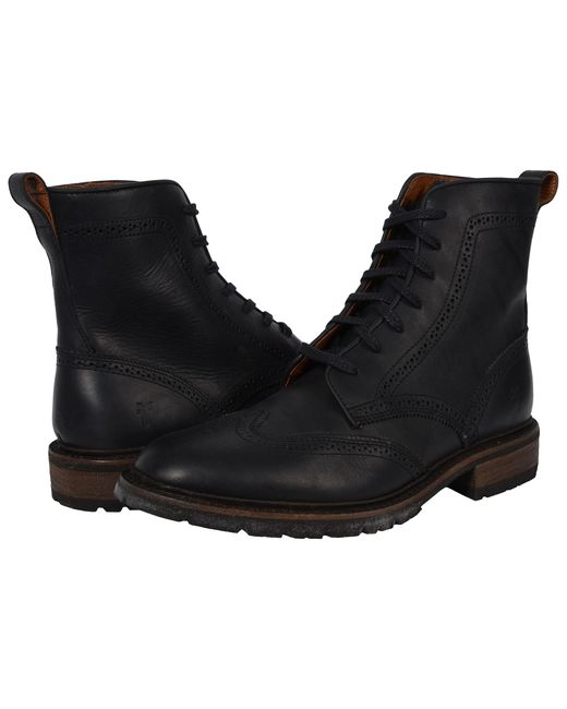 Frye | Black James Lug Wingtip Boot for Men | Lyst