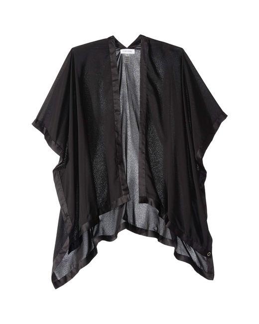 Calvin Klein - Satin Border Chiffon Shawl (black) Women's Sweater - Lyst