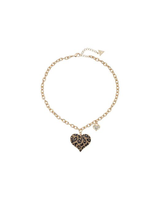 Guess   Multicolor Gone Wild Animal Print Heart Necklace   Lyst