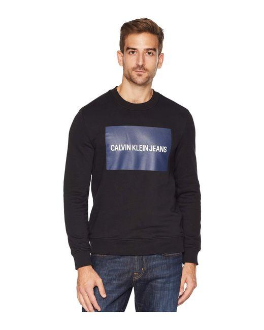 Calvin Klein - Institutional Logo Crew Neck Sweatshirt (black) Men's Sweatshirt for Men - Lyst