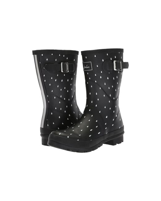 Joules - Black Mid Molly Welly (navy Spot Rubber) Women's Rain Boots - Lyst