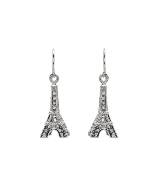 Betsey Johnson | Metallic Crystal Rhodium Eiffel Tower Drop Earrings | Lyst