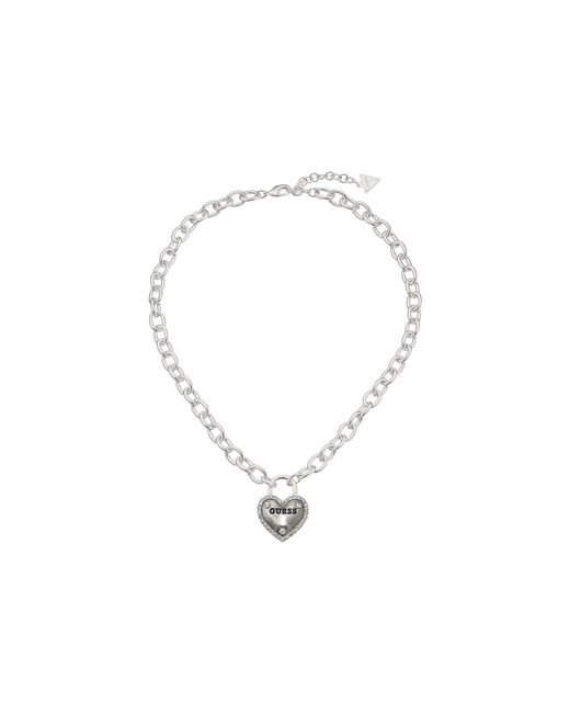 Guess | Metallic Framed Heart Necklace | Lyst