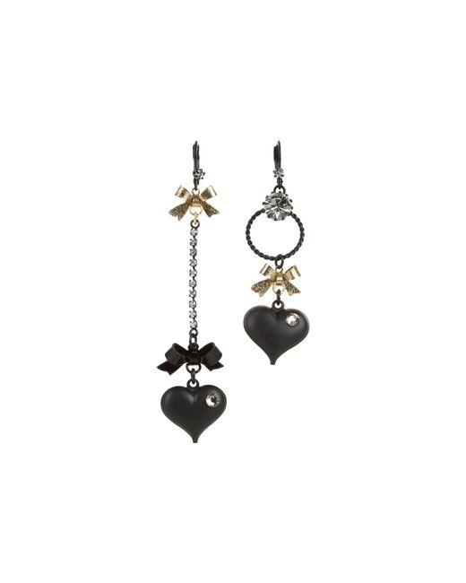Betsey Johnson   Black Heart/ Bow Drop Earrings   Lyst