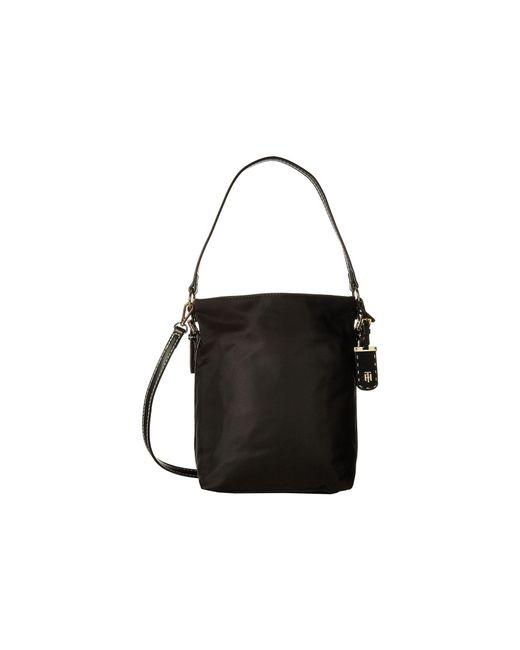 Tommy Hilfiger Black Julia Convertible Solid Nylon Hobo Khaki Handbags Lyst