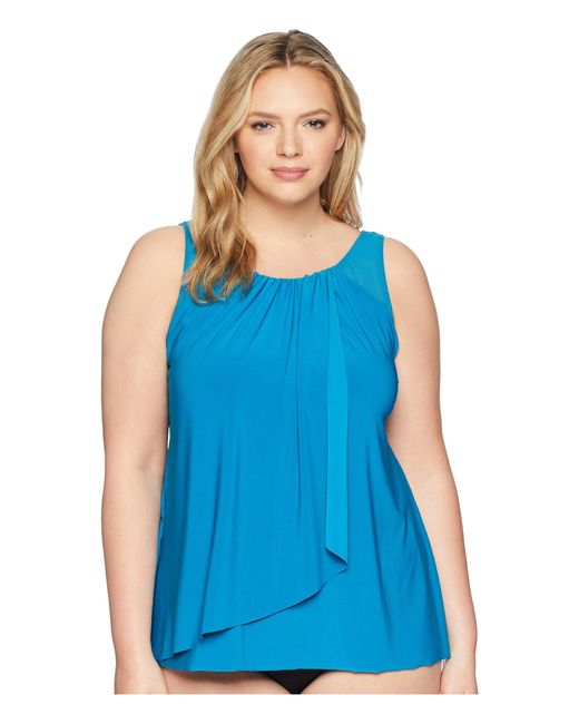 Miraclesuit - Blue Plus Size Solid Mariella Top (peacock) Women's Swimwear - Lyst