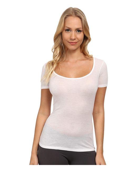 Hanro - White Ultralight Short Sleeve Top - Lyst