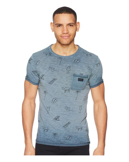 Scotch & Soda - Blue Oil-washed Tee With Cut Sewn Styling (army) Men's T Shirt for Men - Lyst