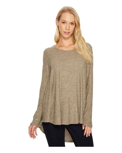 Nally & Millie   Brown Brushed Rib Pleat Back Long Sleeve Tunic   Lyst