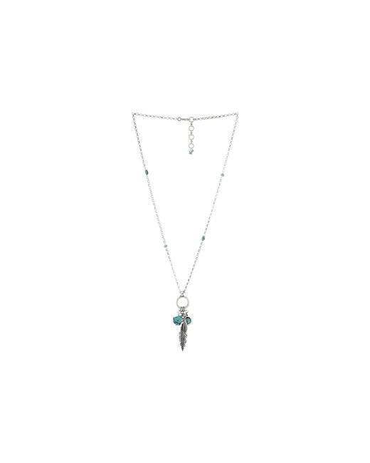 Lucky Brand | Metallic Silver Feather Charm Necklace | Lyst