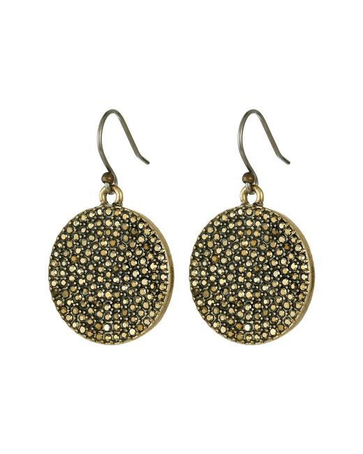 Lucky Brand | Metallic Gold Pave Disk Earring | Lyst