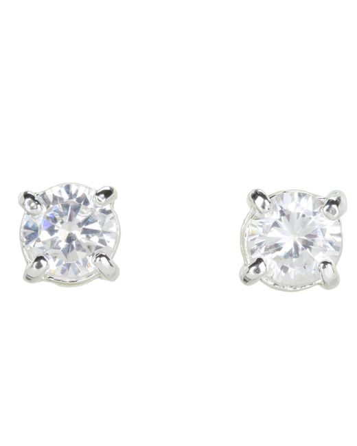 Lauren by Ralph Lauren | Metallic Cubic Zirconia Stud Small 0.85ct | Lyst