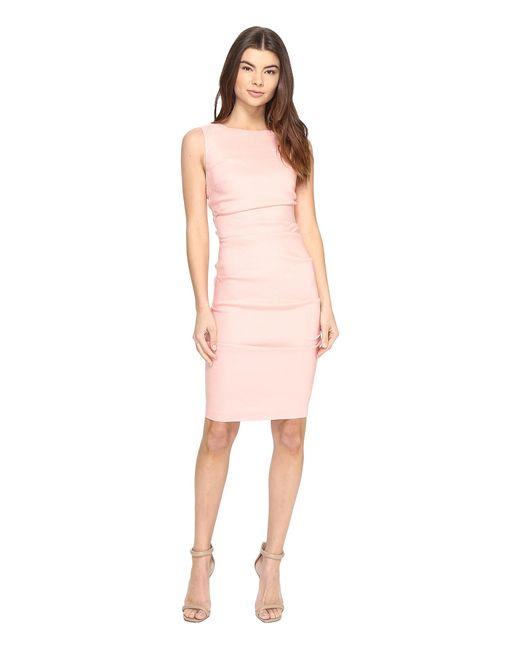 Nicole Miller | Pink Lauren Stretch Linen Dress | Lyst