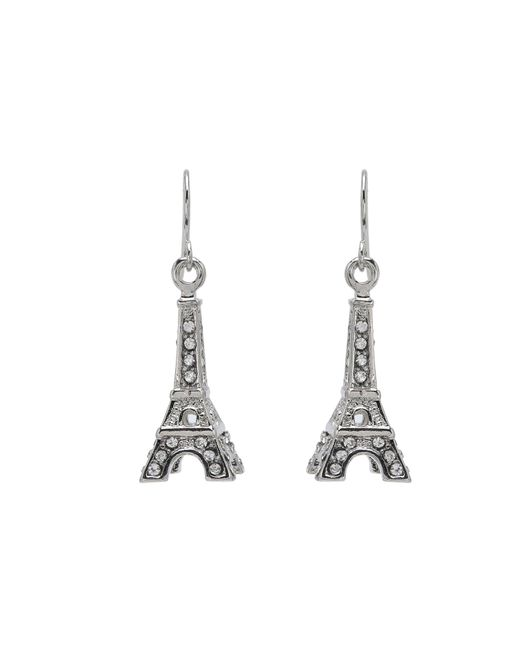 Betsey Johnson | Metallic Crystal Rhodium Eiffel Tower Drop Earrings | Lyst
