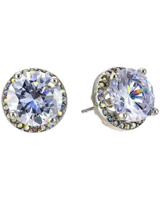 Betsey Johnson | Metallic Crystal Rhodium Crystal Stud Medium Earrings | Lyst