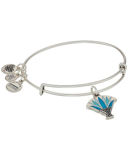 ALEX AND ANI - Metallic Blue Lotus Bangle (rafaelian Gold) Bracelet - Lyst
