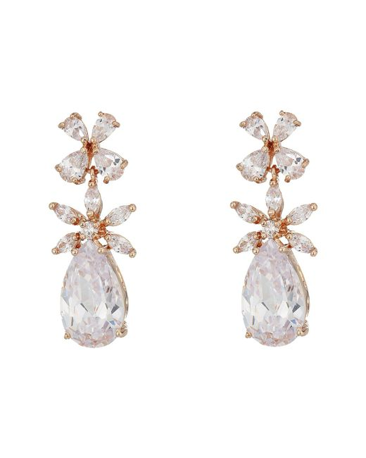 Nina - Multicolor Essen Earrings (rose Gold/white Cz) Earring - Lyst