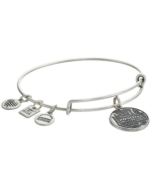 ALEX AND ANI | Metallic Positive Is How I Live Charm Bangle | Lyst