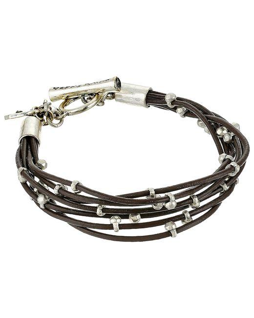 Lucky Brand   Metallic Silver Leather Bracelet   Lyst