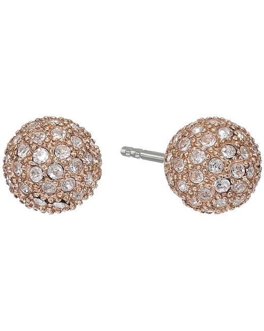 Fossil | Pink Pave Ball Studs Earrings | Lyst